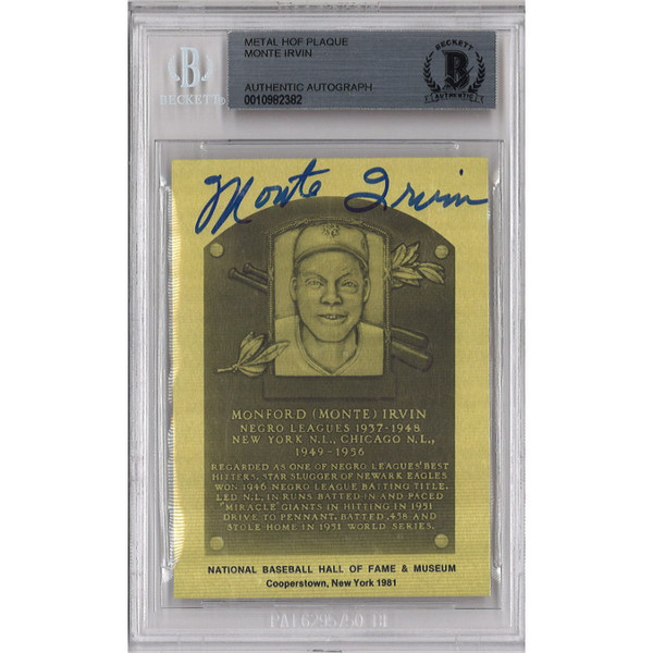 Monte Irvin Autographed Metallic Hall of Fame Plaque Card (Beckett-82)