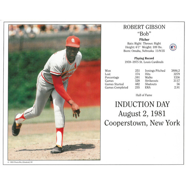 Bob Gibson St. Louis Cardinals 1981 Hall of Fame Induction 8x10 Photocard