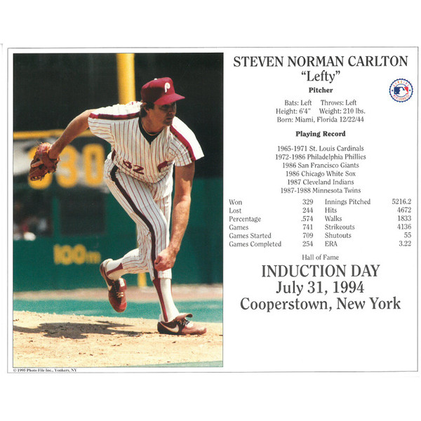 Steve Carlton Philadelphia Phillies 1994 Hall of Fame Induction 8x10 Photocard