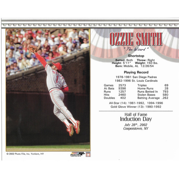 Ozzie Smith St. Louis Cardinals 2002 Hall of Fame Induction 8x10 Photocard