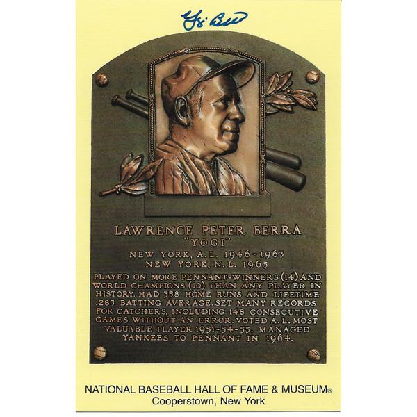 Yogi Berra Autographed Hall of Fame Plaque Postcard (JSA-20)