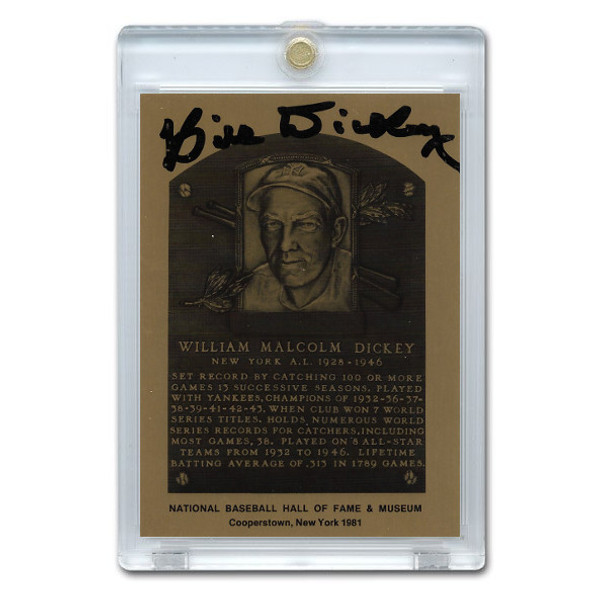 Bill Dickey Autographed Metallic Hall of Fame Plaque Card (JSA-66)