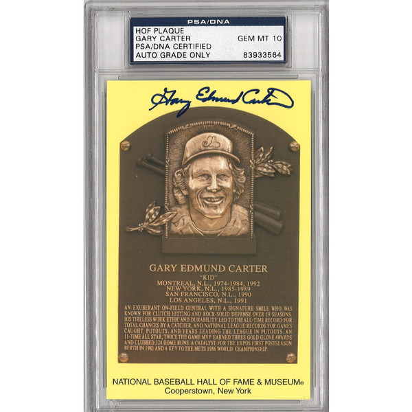 Gary Carter Autographed (full name) Hall of Fame Plaque Postcard (PSA-64)