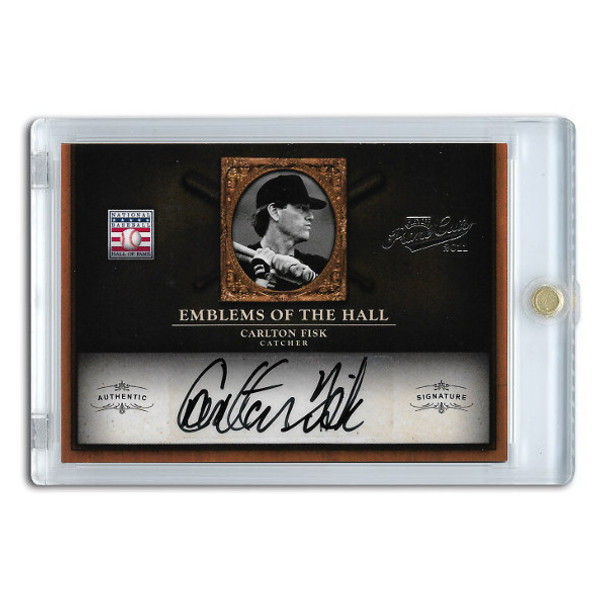 Carlton Fisk Autographed Card 2011 Panini Prime Cuts Emblems of the Hall Lt Ed of 25