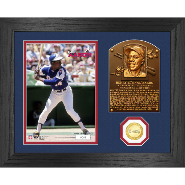 Highland Mint Hank Aaron Hall of Fame Plaque Bronze Coin 13 x 16 Photo Mint