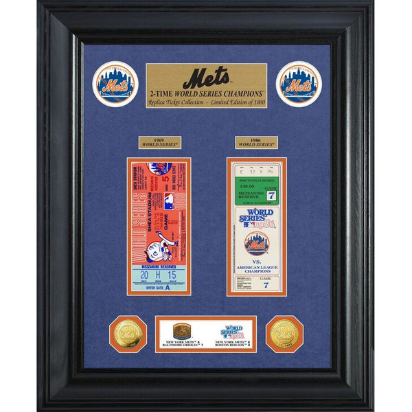 Highland Mint New York Mets World Series Deluxe Framed Gold Coin & Ticket Collection