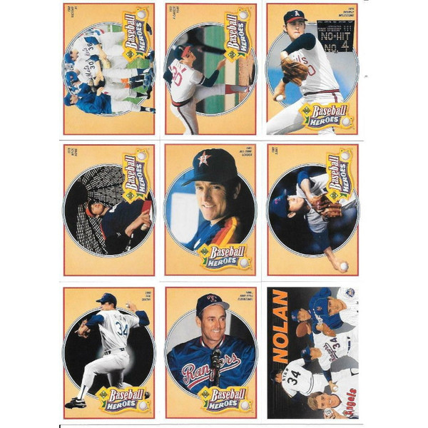 Nolan Ryan 1991 Upper Deck Heroes 9 Card Baseball Set