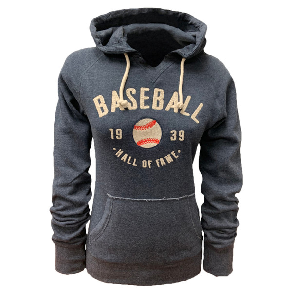 Women's Baseball Hall of Fame Navy Heather Popshot Fleece Pullover Hood