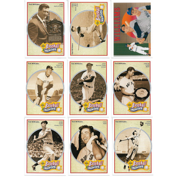 Ted Williams 1992 Upper Deck Heroes 9 Card Baseball Set