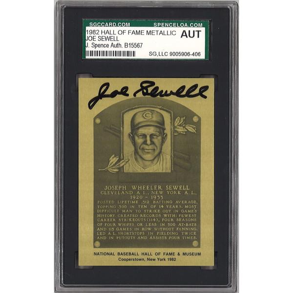 Joe Sewell Autographed Metallic Hall of Fame Plaque Card (JSA-06)