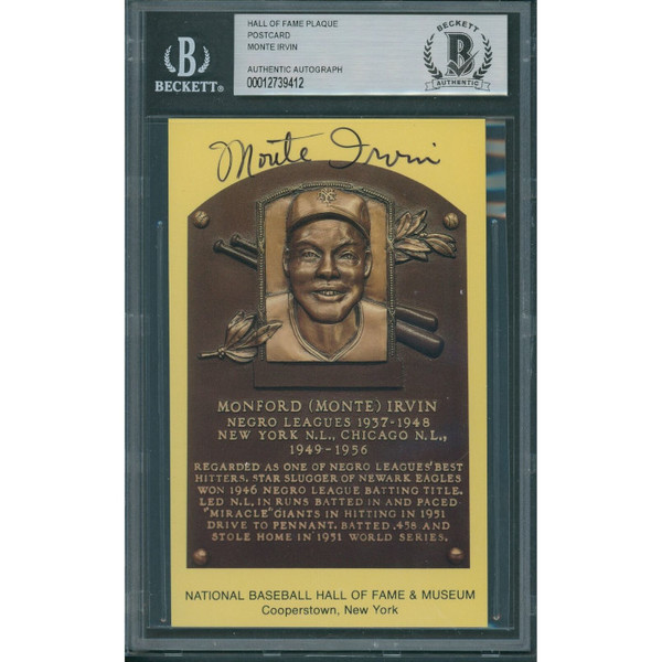 Monte Irvin Autographed Hall of Fame Plaque Postcard (Beckett-12)