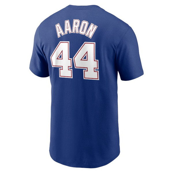 Men's Nike Hank Aaron Atlanta Braves Cooperstown Collection Name & Number Royal T-Shirt