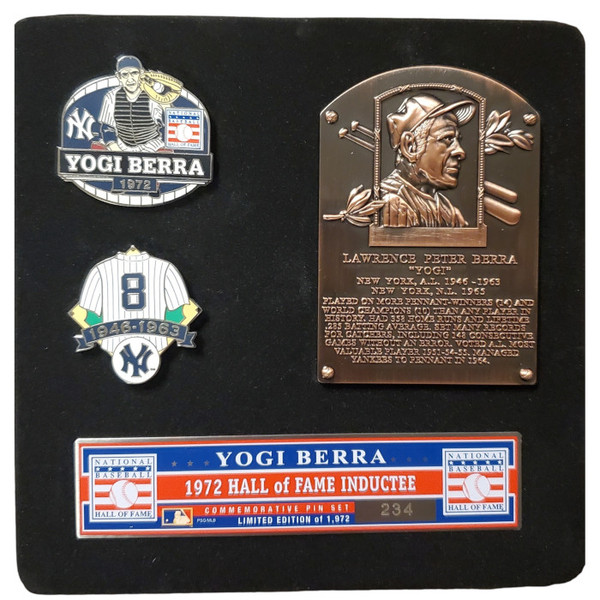 Yogi Berra Hall of Fame Exclusive 3 Piece Pin Set with Plaque Bust Ltd Ed of 1,972