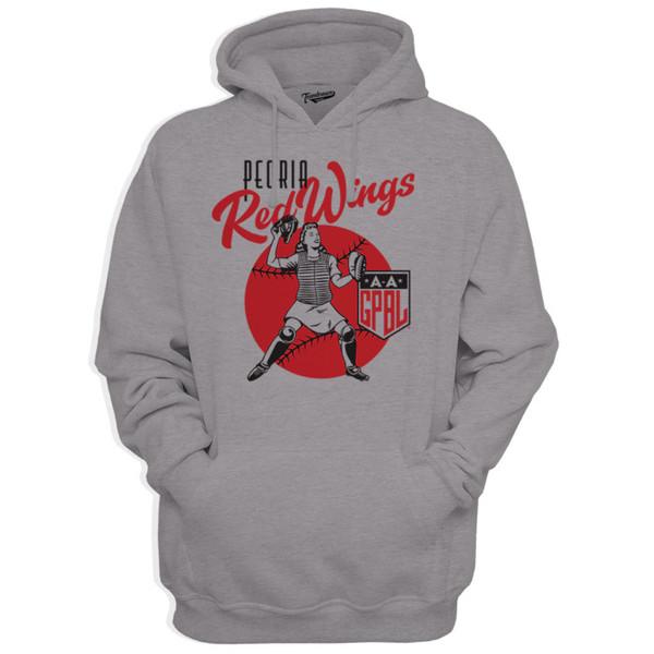 Unisex Teambrown Peoria Red Wings Gray Diamond Hooded Sweatshirt