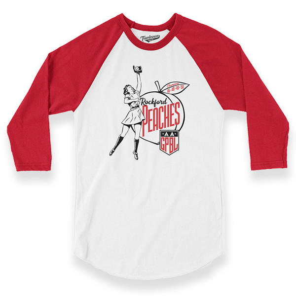 Unisex Teambrown Rockford Peaches AAGPBL Longsleeve Baseball Shirt