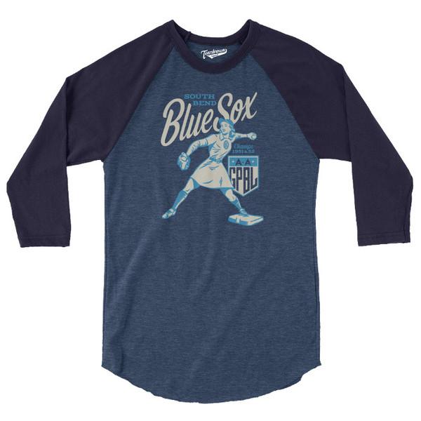 Unisex Teambrown South Bend Blue Sox AAGPBL Longsleeve Baseball Shirt