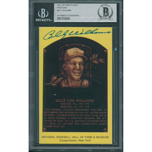 Billy Williams Autographed Hall of Fame Plaque Postcard (Beckett-43)