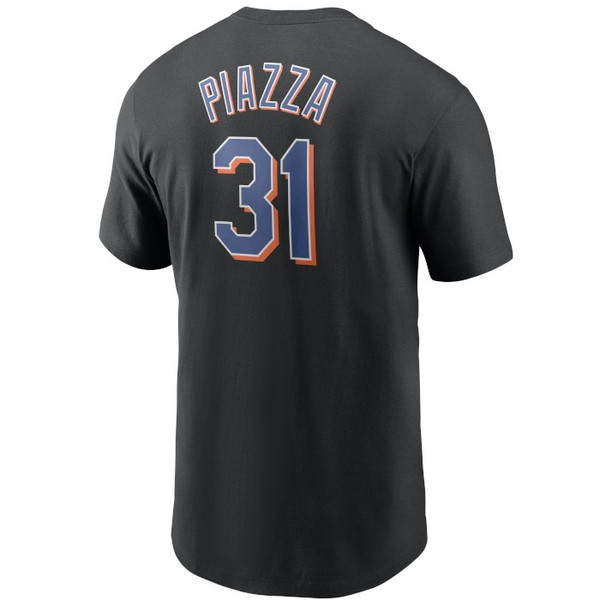 Men's Nike Mike Piazza New York Mets Cooperstown Collection Name & Number Black T-Shirt