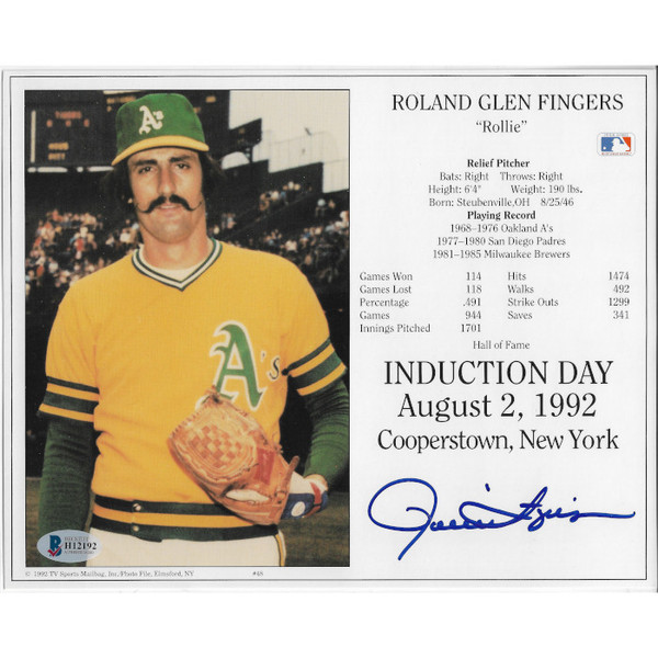 Rollie Fingers Autographed 1992 Hall of Fame Induction 8x10 Photocarrd (Beckett)