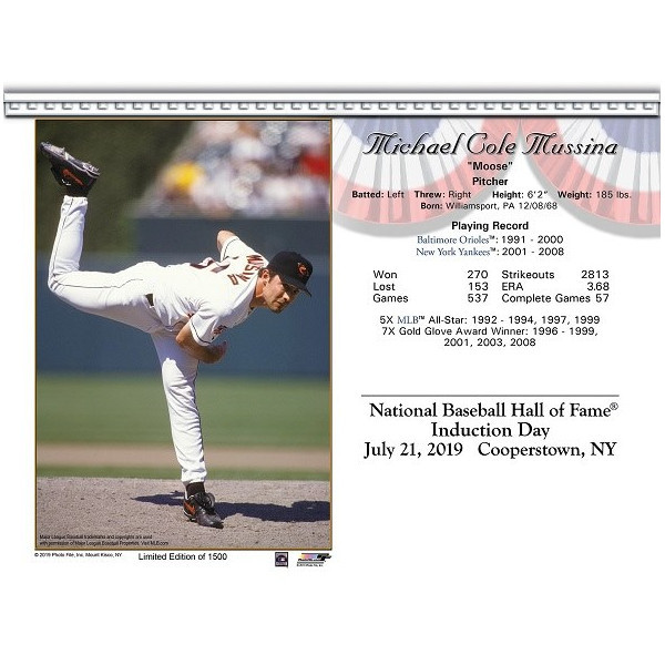 Mike Mussina Baltimore Orioles 2019 Hall of Fame Induction 8x10 Photocard