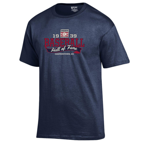 Men's Baseball Hall of Fame Navy 1939 Banner T-Shirt