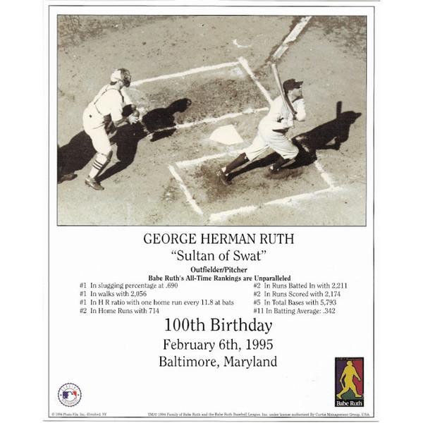 Babe Ruth New York Yankees 100th Birthday 8x10 Photocard