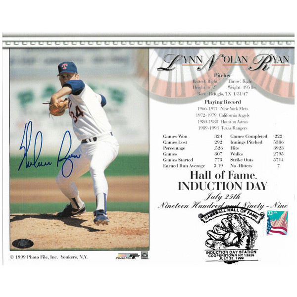Nolan Ryan Autographed Postmarked 1999 Hall of Fame Induction 8x10 Photocarrd (Ryan Foundation)