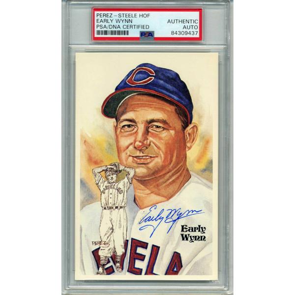 Early Wynn Autographed Perez-Steele HOF Series Postcard # 133 (PSA-37)