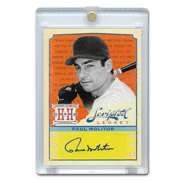 Paul Molitor Autographed Card 2013 Panini Hometown Scripted Legacy