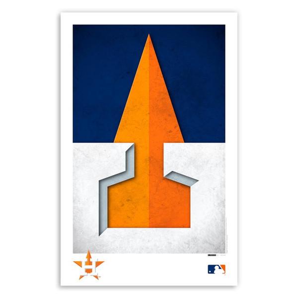 Houston Astros Minimalist Team Logo Collection 11 x 17 Fine Art Print by artist S. Preston