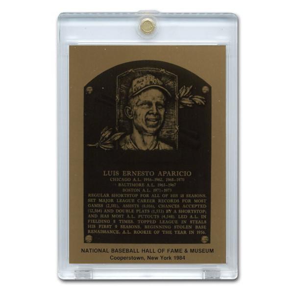 Luis Aparicio 1984 Hall of Fame Metallic Plaque Card