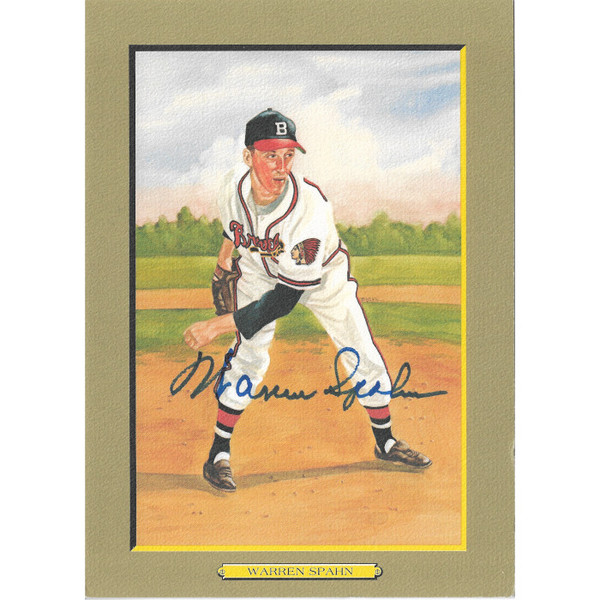 Warren Spahn Autographed Perez-Steele Great Moments Jumbo Postcard # 14 (JSA-61)