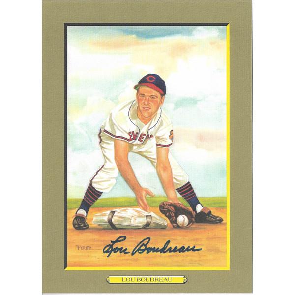 Lou Boudreau Autographed Perez-Steele Great Moments Jumbo Postcard # 63 (JSA-50)
