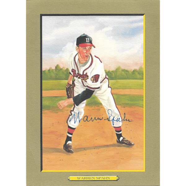 Warren Spahn Autographed Perez-Steele Great Moments Jumbo Postcard # 14 (JSA-27)