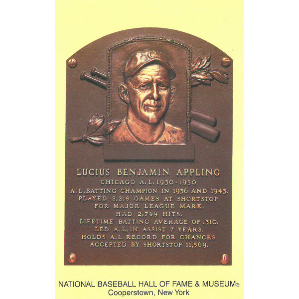 Luke Appling Baseball Hall of Fame Plaque Postcard