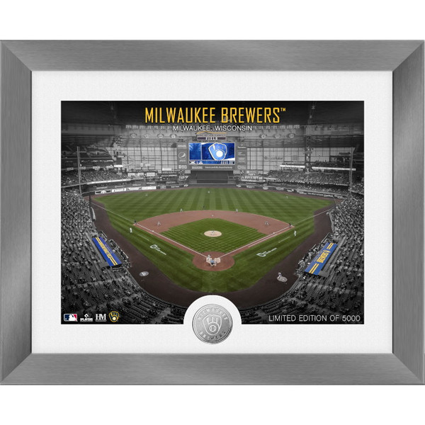 Highland Mint Milwaukee Brewers Art Deco Stadiums Silver Coin 13 x 16 Photo Mint