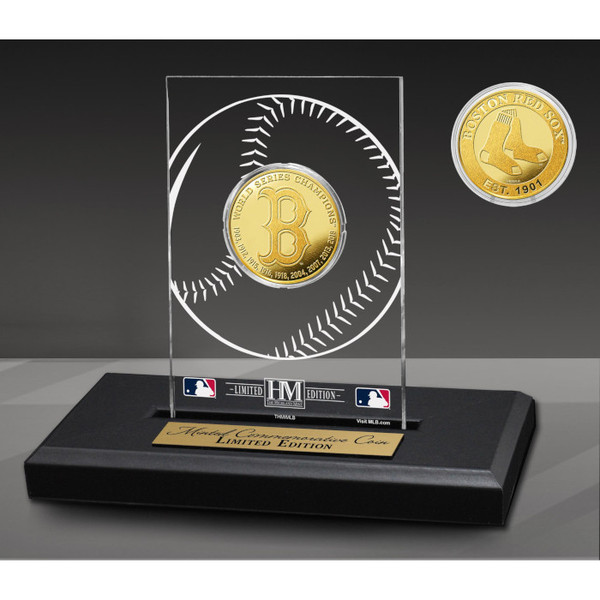 Boston Red Sox 9-Time Champions Acrylic Gold Coin