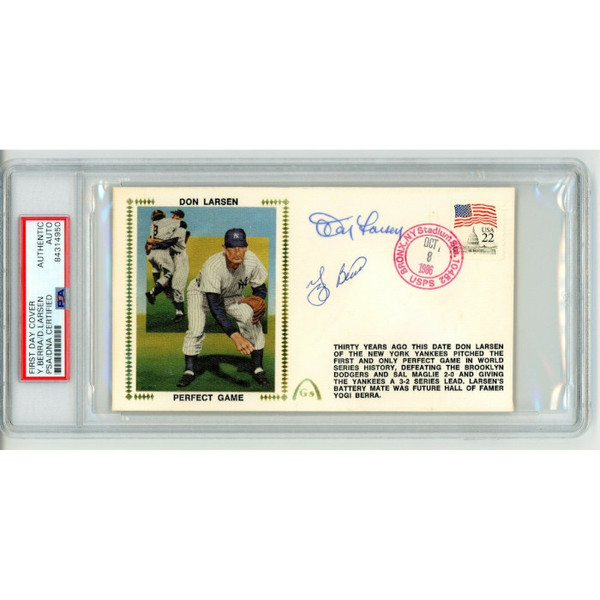 Yogi Berra and Don Larsen Autographed First Day Cover - 1986 Perfect Game 30th Anniversary (PSA)