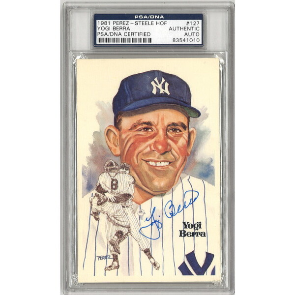 Yogi Berra Autographed Perez-Steele HOF Series Postcard #127 (PSA-010)
