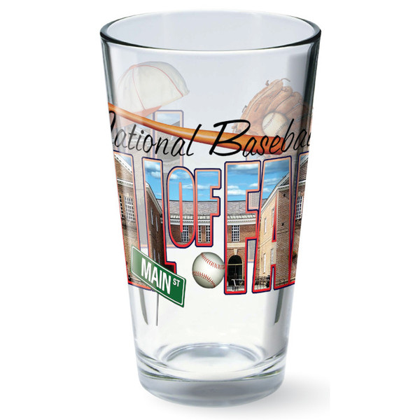 Baseball Hall of Fame 16 oz Building Word Art Collage Mixing Glass