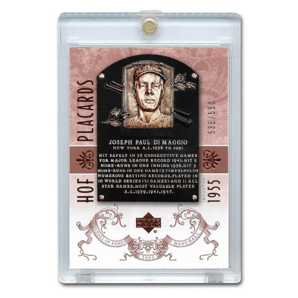 Joe Dimaggio 2005 Upper Deck Hall of Fame Placards # 90 Ltd Ed of 550