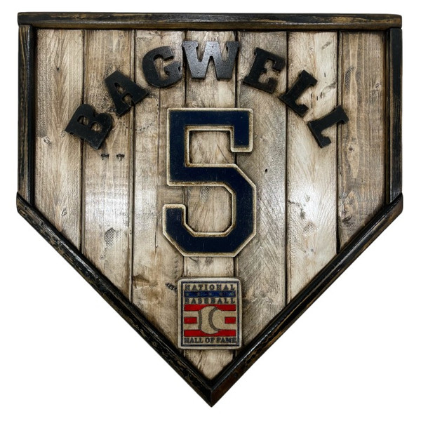 Jeff Bagwell Hall of Fame Vintage Distressed Wood 17 Inch Legacy Home Plate Ltd Ed of 250