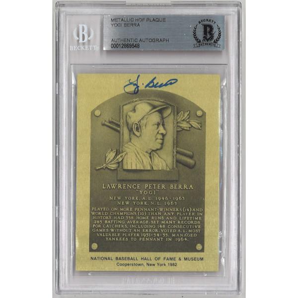 Yogi Berra Autographed Metallic Hall of Fame Plaque Card (Beckett-48)