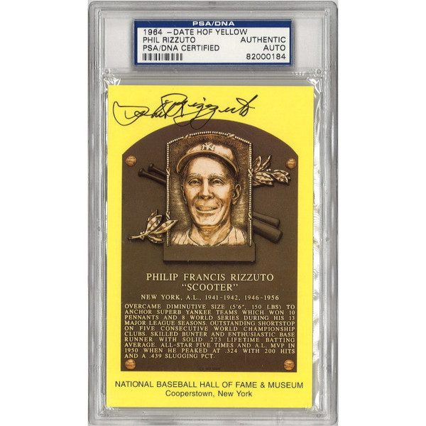 Phil Rizzuto Autographed Hall of Fame Plaque Postcard (PSA-84)