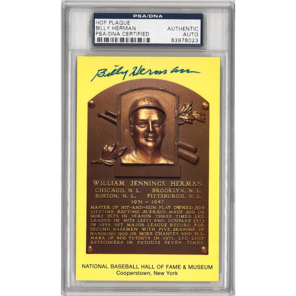 Billy Herman Autographed Hall of Fame Plaque Postcard (PSA-23)