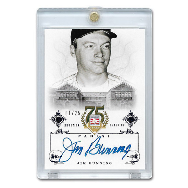 Jim Bunning Autographed Card 2014 Panini Cooperstown HOF 75th Anniversary Blue # 84 Ltd Ed of 25
