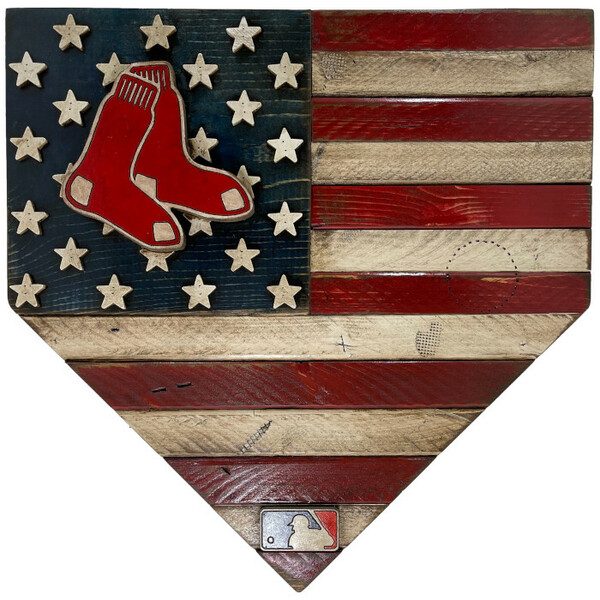 Boston Red Sox Distressed Wood Handmade 17 Inch Home Plate Flag