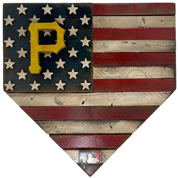 Pittsburgh Pirates Distressed Wood Handmade 17 Inch Home Plate Flag
