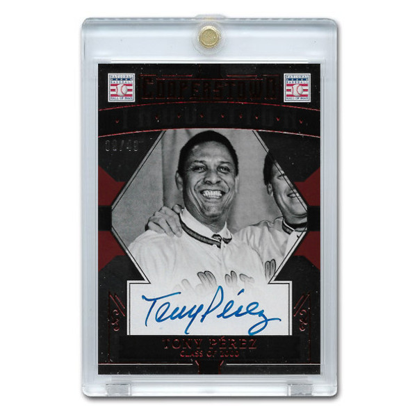 Tony Perez Autographed Card 2015 Panini Cooperstown Red # 48 Ltd Ed of 49