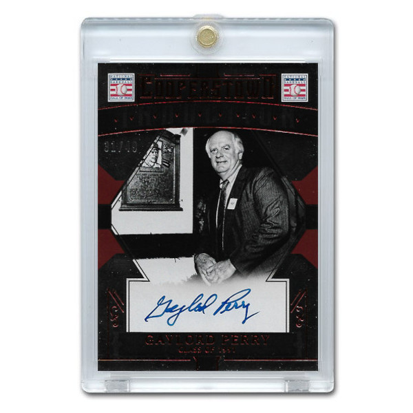 Gaylord Perry Autographed Card 2015 Panini Cooperstown Red # 18 Ltd Ed of 49